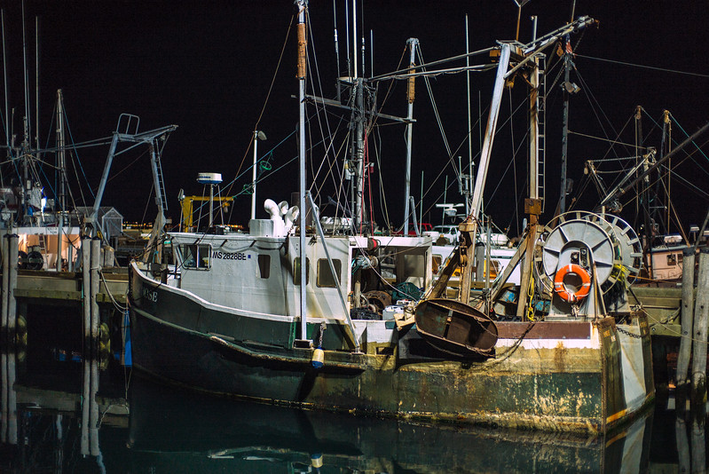 Rose scallop dragger at night Provincetown Harbor