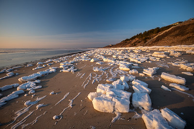 beached chunks of snow