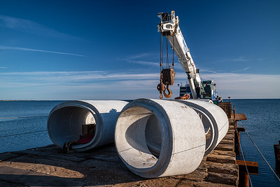 concrete pipe sections for new East Harbor culvert