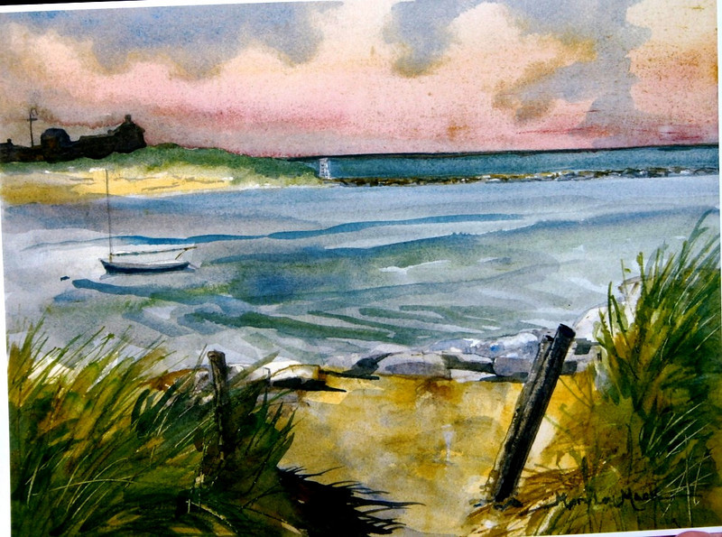 """Thru The Dunes To Sesuit Canal<br /> 11"""" x 15"""" Price: $300. Framed<br /> Prints Available"""