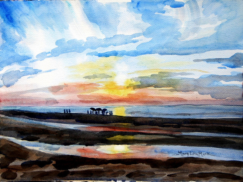 """Sunset At Mayflower Beach<br /> 11"""" x 15"""" Price: $225. Framed"""