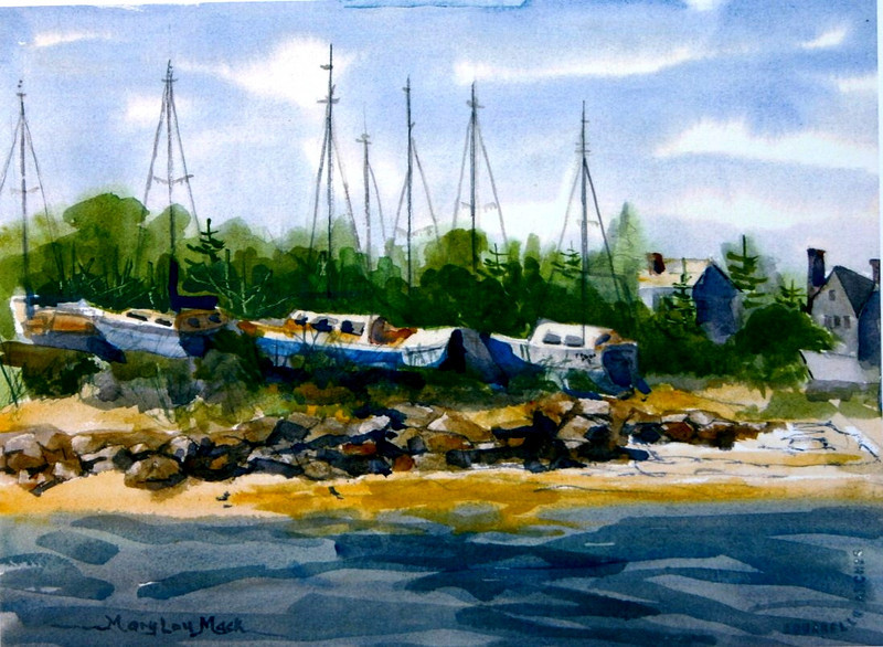 """Boats Dry Docked At Sesuit Harbor<br /> 11""""x15"""" Sold<br /> Prints Available"""