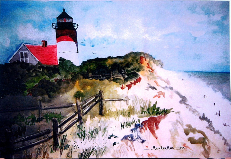 """Nauset Lighthouse Before The Move<br /> 22"""" x 30"""" Sold<br /> Prints Available"""