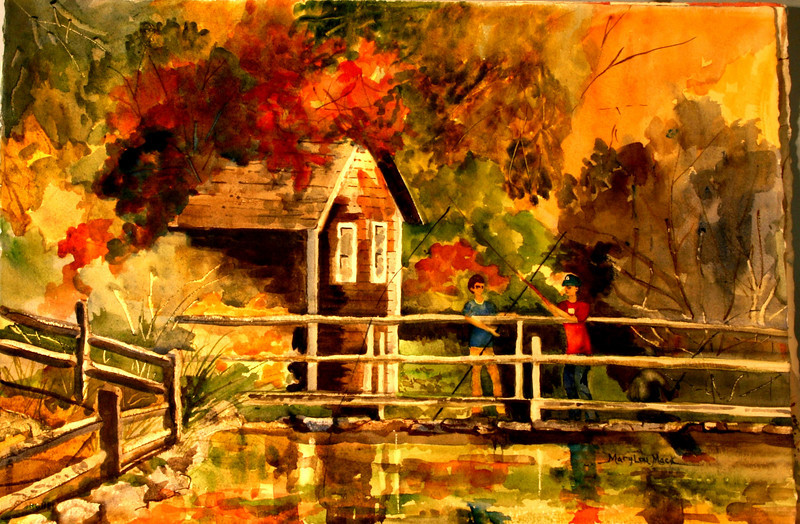 """Fishing At Stoney Brook Mill<br /> 15"""" x 22"""" Price:$250. Unframed"""