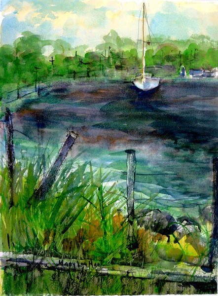 """Sailboat Leaving Northside Marina<br /> 11"""" x 15"""" Sold <br /> Prints Available"""