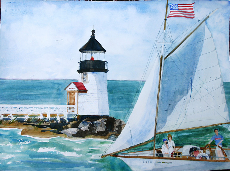 Sailing By Brant Point Lighthouse<br /> NFS