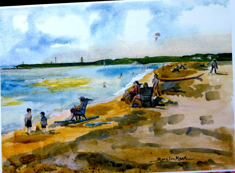 """West Dennis Beach In Late Afternoon<br /> 11"""" x 15"""" Price: $300. Framed"""