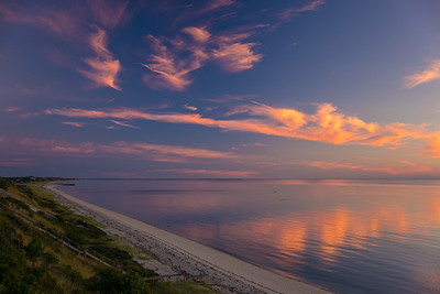flaming peachy clouds over Cape Cod Bay