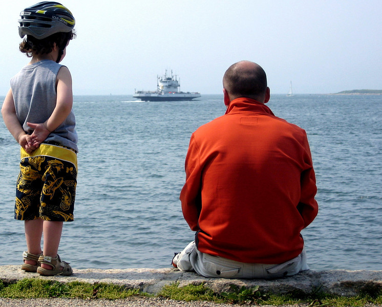 Watching Ferry. Woods Hole, MA