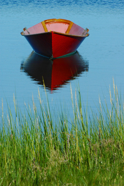 Red Boat, Green Grass. W. Falmouth Harbor