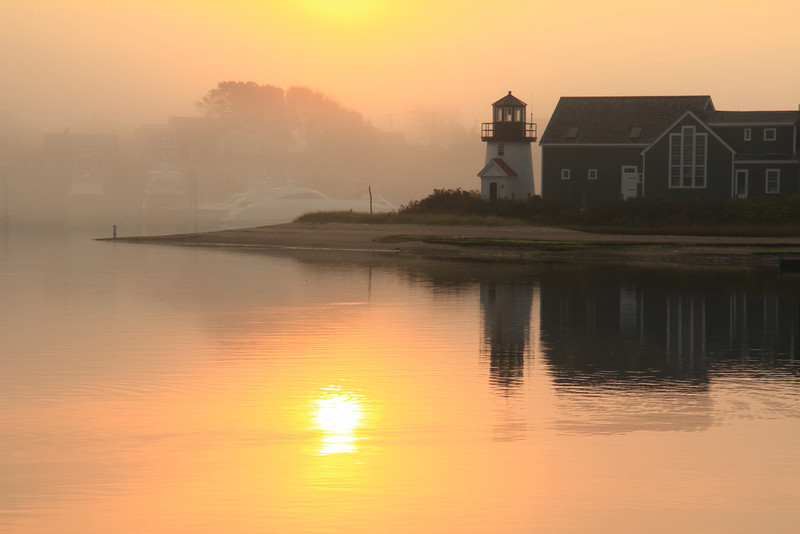 Misty Sunrise at Hyannis Harbor Lighthouse
