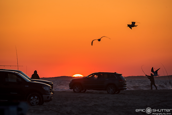 April 17, 2018, Cape Point, Sunset, Fisherman, Fishing, Cape Hatteras National Seashore, Outer Banks Photographers, Hatteras Island Photographers, Documentary Photographers