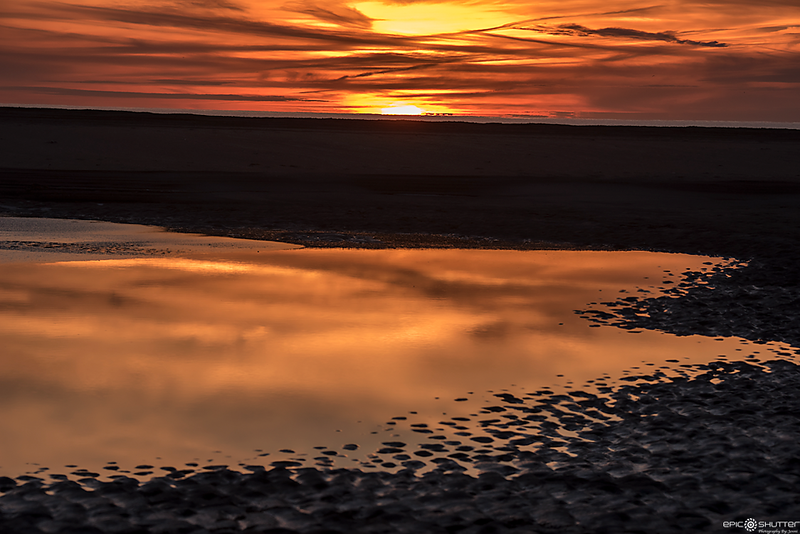 January 8, 2018, Cape Point, Frozen Sunset, Buxton, Hatteras Island, North Carolina, Epic Shutter Photography, Outer Banks Photographers