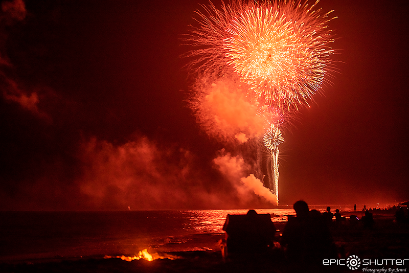 July 4, 2019 Avon Fishing Pier, Fireworks, Outer Banks Photographers, Epic Shutter Photography, Cape Hatteras Photographers, OBX Photographers, Fireworks over the ocean, Avon, North Carolina, Hatteras Island