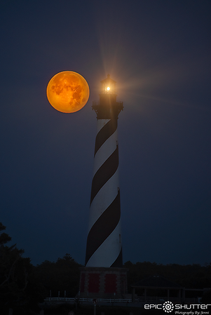 June 17, 2019 Strawberry Moon Setting at the Cape Hatteras Lighthouse,  Full Moon, Buxton, North Carolina, Epic Shutter Photography, Cape Hatteras Photographer, Outer Banks Photographers, OBX Family Vacation, Cape Hatteras Photographer, Cape Hatteras Nati