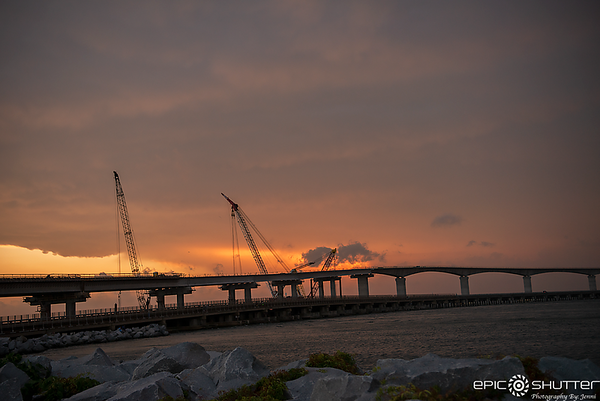 June 23, 2018, Bonner Bridge Construction, Summer Storm Clouds, Sand Storm on Route 12, Epic Shutter Photography, Outer Banks Documentary Photographer, Hatteras Island Photographer, Sunset