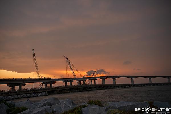 June 23, 2018, Bonner Bridge Construction, Summer Storm Clouds, Sand Storm on Route 12, Epic Shutter Photography, Outer Banks Documentary Photographer, Hatteras Island Photographer, Sunset