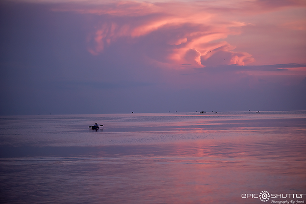 June 29, 2018, Sunset, Avon, Pamlico Sound, Kayaks, Boats, Outer Banks Documentary Photographer, Hatteras Island Photographer, Outer Banks Photographer, OBX, Epic Shutter Photography, Epic Sunsets