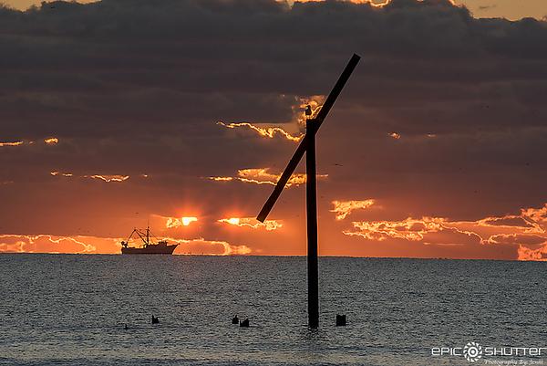 November 28, 2017, Sunrise, Frisco Pier,  Shrimp Boats, Green Tail Shrimp, Dolphins Seagulls, Epic Shutter Photography