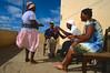 Nacia Gomi (en blanc) menant une séance de batuque. Ile de Sao Tiago/Cap-Vert