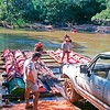 Brians Toyota wagon loading for the trip over the Wenlock River.
