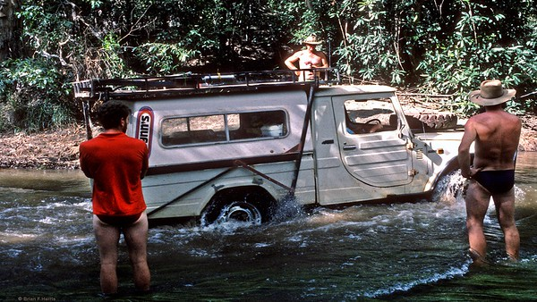 Barbara powers the mighty 2.4 litre Diahatsu diesel through yet another river crossing as her confidence and ability grows.