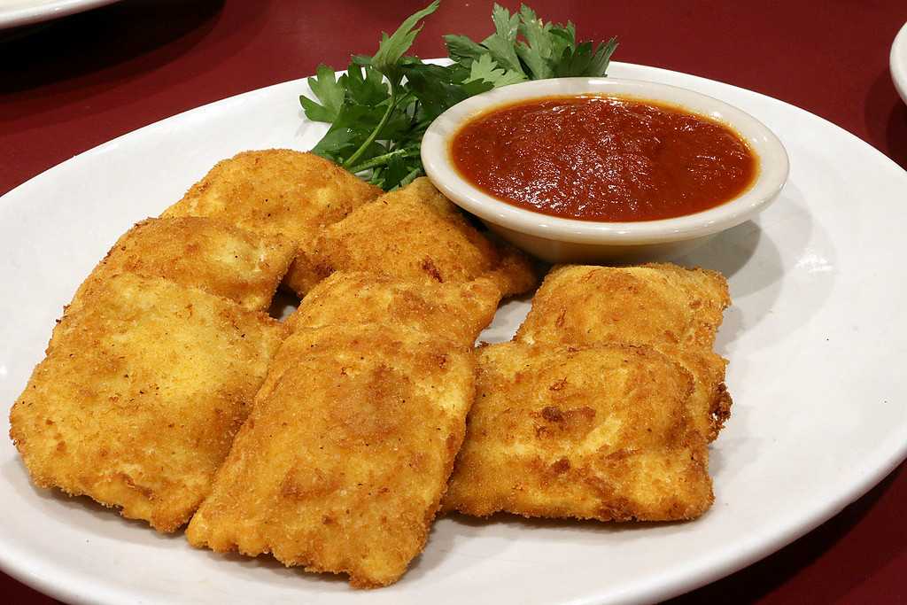 . Capellini\'s Restaurant\'s appetizers Toasted Ravioli which consists of breaded cheese raviloi with marinara sauce at the restaurant in Tewksbury on Wednesday afternoon. SUN/JOHN LOVE