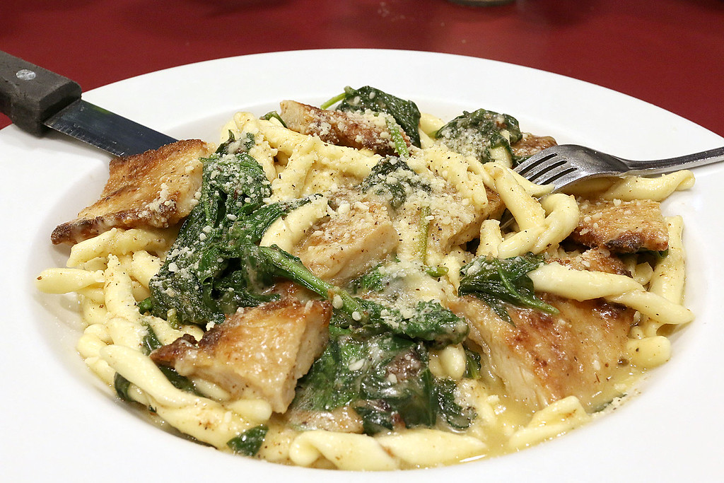 . Capellini\'s Restaurant\'s dish chicken Verona a breaded cutlet sautéed with fresh spinach sage and butter tossed with fresh fusilli pasta Asiago cheese at the restaurant in Tewksbury on Wednesday afternoon. SUN/JOHN LOVE