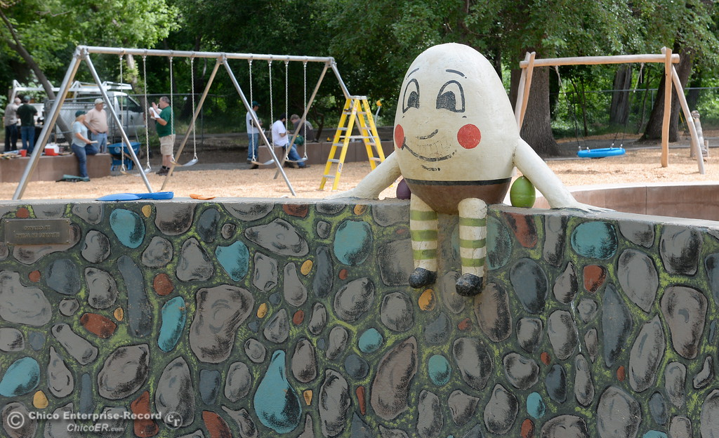 . Humpty Dumpty sits on a wall while City of Chico workers put the finishing touches on the new swing section at Caper Acres Thursday May 10, 2018. New things include a bridge near the entrance, swings, a teeter totter and more. The new Swing Adventure Area Grand Opening is Saturday May 12 at 9:00 a.m.. (Bill Husa -- Enterprise-Record)