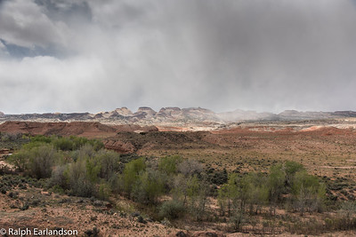 Rain falls on the distrant buttes.