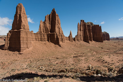 Sandstone pinnacles in Cathedral Valley.