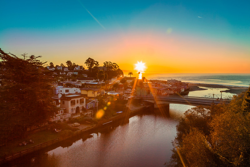 Capitola Village at Sunrise from the train trestle
