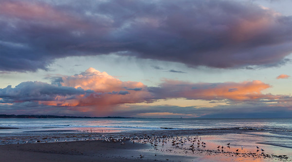 View of the Monterey Bay from Capitola Beach at Sunset