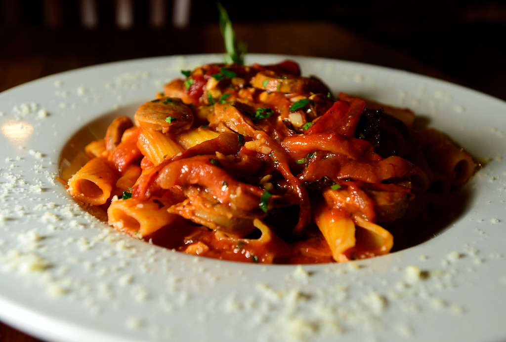 . Rigatoni Salsiccia with sausage and peppers in garlic tomato sauce at Caprese Trattoria on Thursday in Longmont. For more photos of the food go to dailycamera.com Jeremy Papasso/ Staff Photographer/ Oct. 5, 2017