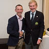 Ian Brown 3rd place prizewinner in the Captain's Prize receives his prize from Captain Jim