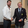 Niall Higgins, Best Qualifier (Day#2) in the Captain's Prize receives his prize from Captain Jim