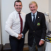 Chris Sheehy 4th place prizewinner in the Captain's Prize receiving congratulations from proud father-in-law Captain Jim