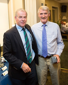 John Waters, who came 2nd , having narrowly lost out on count-back, being congratulated and presented with his prize by Club Captain Kevin.