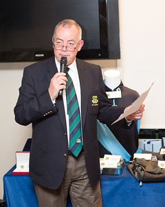 Denis O'Mahony announcing the Captain's Prize Winners