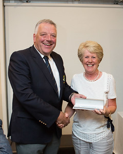 Ladies 9-Hole Runner-Up, Geraldine Cassidy being presented with her prize by Peter