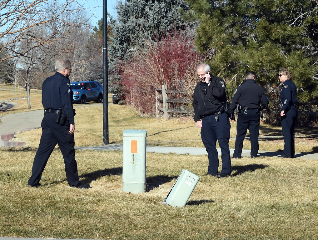 ". Police continue to collect evidence after the suspect was arrested. A five-agency search for an ""armed and dangerous man\"" concluded around 1:15 p.m. Thursday on Elk Court in Broomfield near Lowell Boulevard and 136th Avenue. The suspect, identified the man as Eric Winden, 35, was cornered in the back yard of a home with the assistance of K9 units.  Cliff Grassmick  Photographer January 11, 2018"