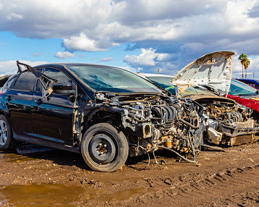 Close up Car wrecks. Junk. Car junk. Totalled cars. Junkyard