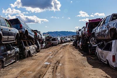 Backdrop Arizona mountain range, Old cars, Car wrecks, Junk, Car junk, Totalled cars, Junkyard