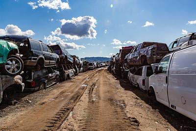 Backdrop Arizona mountain range in Phoenix, Old cars, Car wrecks, Junk, Car junk, Totalled cars, Junkyard