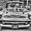57 Chevy 210 Post - HDR BW