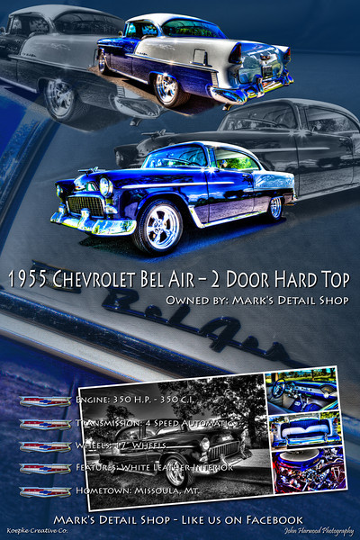 "1955 Chevrolet Bel Air – 2 Door Hard Top<br /> Owner: Mark's Detail Shop<br /> Like us on FaceBook<br /> <a href=""https://www.facebook.com/pages/MARKS-DETAIL-SHOP/107894642567982"">https://www.facebook.com/pages/MARKS-DETAIL-SHOP/107894642567982</a>"