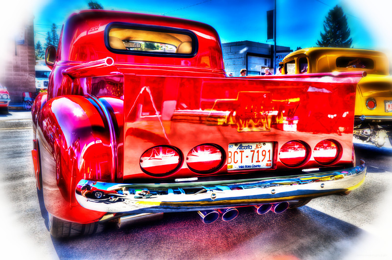 red truck back blur