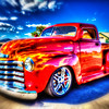 red truck on the beach blur