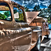 1957 Chevy pickup with camper and boat (peach) - Owner Patricia Dunning