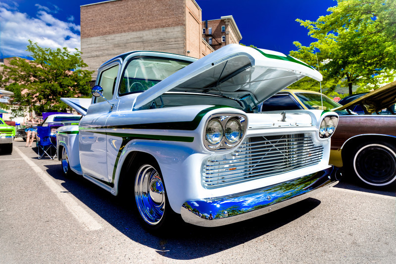 1958 Chevy PU (white-green) - Kevin Bleth (garden city river rod run 2012)
